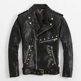 Wholesale Thin Leather Motorcycle Jacket - FREE SHIPPING 2017 New Slim Fit Rivet Leather Jackets For Men Black Turn-down Diagonal Zipper Real Sheepskin Motorcycle Coat