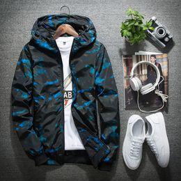 Wholesale hooded mens light jacket - Wholesale- Camouflage Hooded Jacket Men Women Breathable Ultra-light Mens Jackets and Coats Softshell Waterproof Windproof Jackets Blue