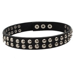 Wholesale Slaves Dog Collars - Black Genuine Leather with Double Row Rivet Necklace Unisex Choker Fetish Bondage Collar for Adult Slave Games Peg Dog Torques