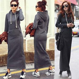 Wholesale Warm Women Sweaters - HOT Fall Winter Women Black Gray Sweater Dress Fleeced Hoodies Long Sleeved Slim Maxi Dresses S M L XL XXL Soft Warm Winter Dress M176