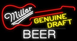 "Wholesale Led Signs Guitar - Miller Genuine Draft Guitar Neon Sign Custom Beer Bar Store Club KTV PUB Advertisement Display Real Glass Tube LED Neon Signs 37""X20"""
