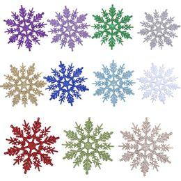 Wholesale Glitter Decorations - 10cm Plastic Glitter Snowflakes Christmas Tree Ornaments Snow Flake Holiday Festival Christmas Party Decoration 12pcs lot