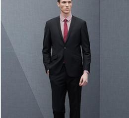 Wholesale Groom Suit Grey - Groom Tuxedos Groomsmen Custom Made Light Grey Side Vent Slim Fit Best Man Suit Wedding Men's Suits Bridegroom (Jacket+Pants)