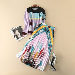 Wholesale Long Length Sweater Dresses - European and American women's wear 2017 The new winter Long-sleeved sweater Cartoon printing pleated skirt suit