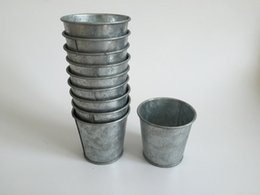 Wholesale Metal American - Metal cup Galvanized Succulent Pots Cheap Vintage Rustic Nostalgia Mini Garden Silver Cute Tin Planter Mini Galvanized Buckets