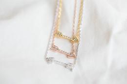 Wholesale Tiny Love Wholesale - NEWBARK Trendy Vintage Necklace Love Cupid's Arrow Necklaces & Pendants with Tiny Cubic Zirconia Diamond Paved Collares Jewelry