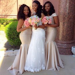 Wholesale Wedding Dresses Tank Straps - Custom Made African Mermaid Bridesmaid Dresses Tank Straps Floor Length Long Maid of Honor Dress Plus Size Wedding Party Gowns