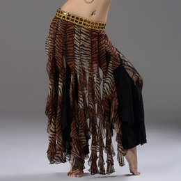 Wholesale Tassel Unique Sexy - Unique 2016 Belly Dancing Sexy Tiger Print Chiffon Skirts Tassel Hip Scarf with Gold Silver Rhinestone Tribal Skirt for Women