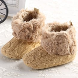 Wholesale Cute Winter Boots For Baby - Wholesale- 2017 Winter Cute Fleece Baby Girl First Walkers Baby Infant Snow Boots Soft Bottom Non-slip Todder Shoes for Kids Baby Warm Boot