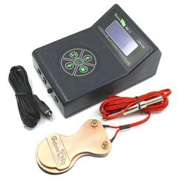 Wholesale Tattoo Kit Black - USA Dispatch Pro Black Digital Dual LCD Tattoo Power with Foot Pedal Switch & Clipcord Clip cord for Beginner tattoo kit suppy