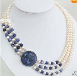 Wholesale Lapis Lazuli Pearl Necklace - 3 Rows Natural 7-8mm White Cultivation Pearl & Lapis lazuli Round Beads Necklace