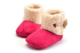 fur baby booties Promo Codes - Wholesale- Winter Baby Shoes Boots Infants Warm Shoes Wool Girls Baby Booties Leather Girls Baby Boots