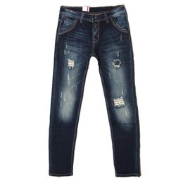 Wholesale Trousers Classical - Wholesale-Taddlee Brand fashion mens jeans male straight leg denim trousers business pants blue jeans ripped cotton denim classical jeans