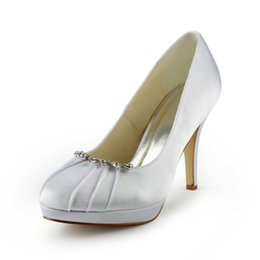 Wholesale Custom Made Heels For Women - Rainstone Ivory Wedding Shoes 10 cm High Heel Bridal Shoes Custom Made Ivory Party Women Shoes For Wedding Free shipping from size 35-42