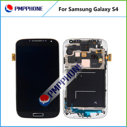 Wholesale S4 Panel - For Samsung Galaxy S4 i9500 9505 I545 I337 White and blue Touch LCD Screen Digitizer + Frame Replacement with Fast DHL ship