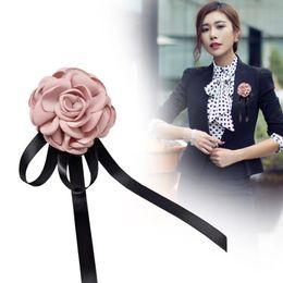 Wholesale Bow Fashion Jewelry - Fashion Woman Brooches Big Ribbon Long Tassel Shirt's Bow Tie Big Flower Woman Collar Accessories Fashion Jewelry