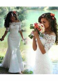 Wholesale Bateau Ivory Wedding Dress Muslim - 2016 Vintage Lace Mermaid Wedding Dresses Bateau Appliques Sexy Sheer Back Vestidos De Novia 2016 Beach Bridal Gown
