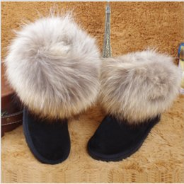 Wholesale Muscle Foxes - New Winter Australia WGG Men Women lovers shoes nature fox fur Tassels Nubuck Leather first walker high rain winter high quality snow boots