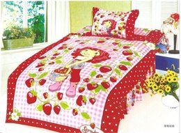 Wholesale Strawberry Girl Cover - Strawberry girl comforter bedding sets bedspreads for single twin double bed include duvet cover sheet pillowcase filler 3 4Pcs
