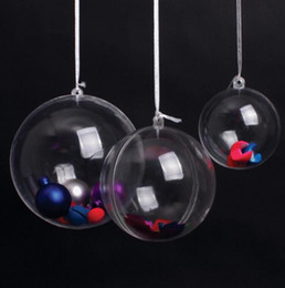 Wholesale Clear Plastic Round Ornaments - New 5cm 6cm 7cm 8cm 10cm 12cm 16cm Clear Plastic Round Ball Sweet Candy Box Xmas Tree Ornament Decorations Gift Hanging Ball