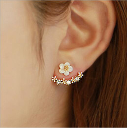 Wholesale Pure Rhodium Jewelry - 925 Sterling Silver Daisy Earrings High quality Anti Allergic Pure S925 Ear Clips Stud Jewelry Daisy Flower Earrings for Women