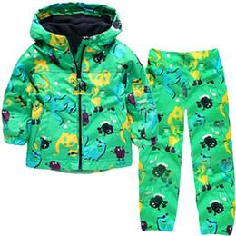 Wholesale Boy Raincoats - Wholesale- 2016 New Girls Clothes Set (Hooded+Pants) Boys Clothing Set Kids Hooded Raincoat Jackets Girls Sports Suits Children's Clothing
