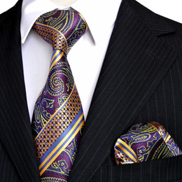 Wholesale Silk Ties Tie Sets - Wholesale E9 Mens Tie Set Multicolor Purple Yellow Blue Paisley Stripes Neckties Handkerchieves 100% Silk Free Shipping