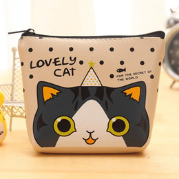 Wholesale Money Change - Women Lovely Cat PU Leather Classic Small Change Coin Purse Little Key Car Pouch Money Bag,Girl\'s Mini Short Coin Holder Wallet