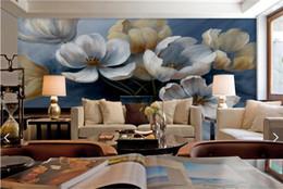 papaveri fiori dipinti Sconti Retro pittura papavero fiore carta da parati HD foto murale per sfondo TV Camera da letto decorazione della parete Sfondi d'epoca murales de pared 3d