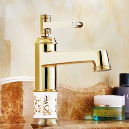 Wholesale Polish Marble - Soild Brass Gold Finish Marble Stone Body Single Handle Cold and Hot Water Tap Bathroom Waterfall Bain Faucet