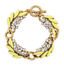 Wholesale Sell Snake Rings - European and American retro high quality hot selling crystal leaf bracelet jewelry for women,gold plated chain bracelet