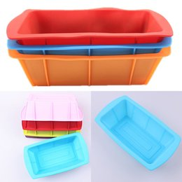 Wholesale Cake Tool Box - Silicone DIY Toast Box Mould Baking Tools Rectangular Cake Bread Plate Kitchen Baking Tools Heat Resisting Multi Colors WX9-99