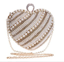 Wholesale Heart Hand Bags - In Stock Three Optional Beaded Pearls Clutches Heart-shaped Bridal Hand Bags Evening Party Prom Crystals Special Occasion Bags Bling Bling