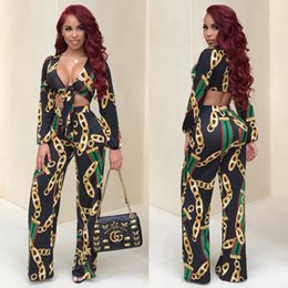 Wholesale Long Sleeve Black Crop Top - 2017 Fashion Designed African Women 2 Piece Set Bow Tie Crop Top And Pants Suit Sexy V Neck Long Sleeve Print Casual 2 Pcs Set Yellow Black