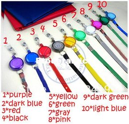 Wholesale Neck Lanyards Pass Holder - 2016 wholesale 10 color Neck Strap tag lanyard+Badge reel ID Card Cell Phone key Round Clip-On Retractable ID Pass Holder