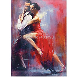 Wholesale Decorative Figure Painting Oil - 100% Hand Painted Canvas Oil Painting For Wall Art Decor Tango Oil Painting Unframed Modern Dance Decorative Pictures Home Decor