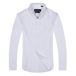 Wholesale Long Dresses Small - free Shipping plaid lapel men's long sleeved Cotton Shirt Men USA Brand POLO Shirts Fashion 100% Oxford Casual Shirt Small Horse Clothes