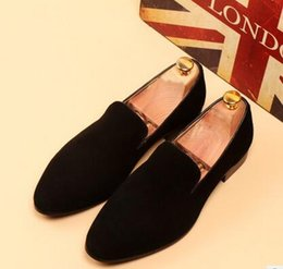 Wholesale blue contracting - 2016 Spring and autumn Men Flats Velvet Loafers Party wedding Shoes contracted Velvet Slippers Driving moccasins shoes