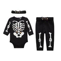Wholesale Skeleton Clothing Kids - Baby Halloween Costume Skeleton Glow Romper Set Long Sleeve Infant Clothing Kids Jumpsuit Overalls Newborn Baby Clothes