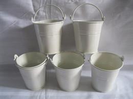 Wholesale Mini Pails Wedding - White D7*H7CM Mini Pails for Party Favor Tin Box Small metal buckets Cute Candy Boxes Succulents Planters