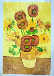 malerei bestellen Rabatt Reine handgemalte 15 Sonnenblumenölgemälde, Wohnzimmer dekorative Malerei, rahmenlos