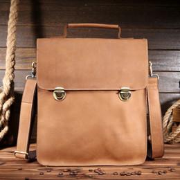 Wholesale Leather Handmade Key Bag - Wholesale- Men Crazy Horse Genuine Leather Briefcase 12 Inch Laptop Messenger Shoulder Bag Vinatage Handmade Tote Crossbody Bag 1088