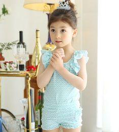 Wholesale Korean Kids Swimming - Summer children swimsuit korean Girls ruffle fly sleeve floral Siamese swimwear+ swim shorts +hats 3pcs swimsuits kids beach swimsuit 7415