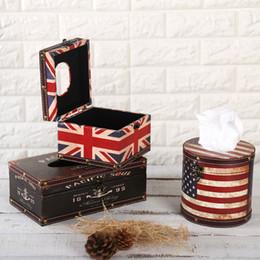 Wholesale Tissue Box Waterproof - Wholesale- Paper Box Retro Creative Home Furnishing Waterproof PU Leather European Style Wooden Tissue Box