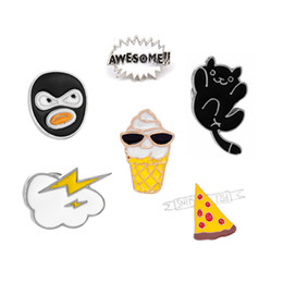 Wholesale cartoon hats for sale - AWESOME!! Ice Cream Pizza Lightning Cute Cartoon Cat Enamel Brooch Pins For Men Women Jeans Hat Badge Brooches Hot Sale
