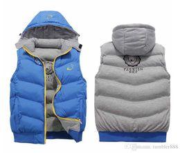 Wholesale Cotton Sport Coats For Men - NK Winter Mens Vests Coats Outerwear Cotton Padded Vests men Sport coat Hooded Padded Size for XL-4XL 3 Colors 2016 Winter Wholesale sales.