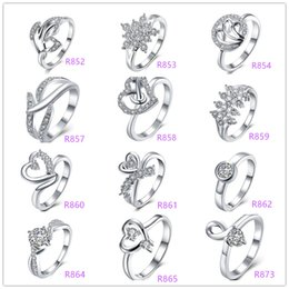 Wholesale Weddings Deals - Deals Lady Fashion 925 sterling Silver Multi Charms Heart Rhinestone Dazzling zircon crystal female rings wedding ring Good Gift Size 7 & 8