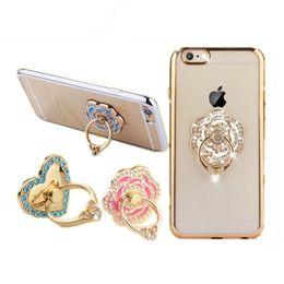 Wholesale Diamond Dock - niversal Mobile Phone Diamond Rose Flower Finger Ring Holder For iPhone 7 6 Samsung S7 Phones Tablet Mount Dock Stand Accessory
