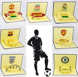 Wholesale Christmas Card 3d - NEW Arrival European Famous Football Gym 3D Pop UP Gift & Greeting 3D Blessing Cards Handmade Paper Silhoue & Creative Birthday Gift Cards