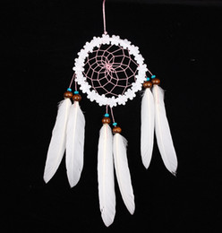 decorazione floreale all'ingrosso Sconti Fiori bianchi all'ingrosso Dream Catcher Indian White Floral Decor Dreamcatcher Cerchio netto con piume Decorazione della casa Forniture per feste